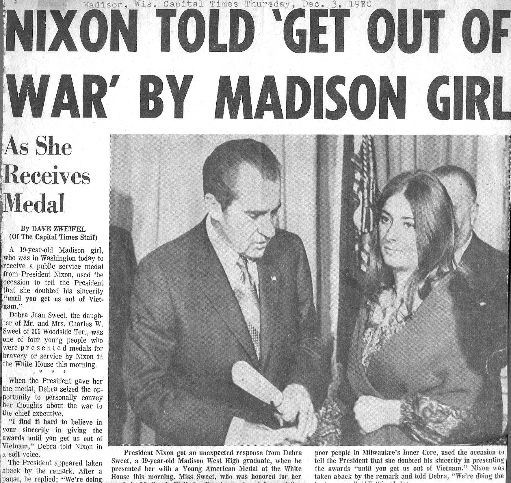 Nixon Told to Get Out of War by Madison Girl