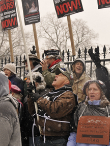 Vets for Peace Leah Bolger at the White House fence December 16th