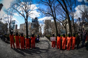Union Square Park, New York City March 30, 2013, marking 51 days of hunger strike by Guantanamo prisoners.