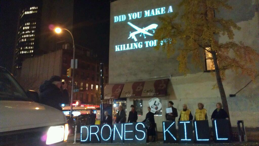 November 18, 2013: Midtown message against US drone war: Did You Make a Killing Tonight?  Drones Kill